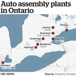 map of auto assembly plants in ontario