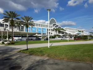 large white building hosting the NAFEM 2019 show in Orlando florida